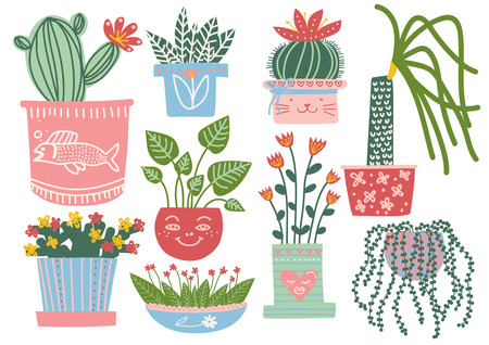 Blooming Plants in Pots Set, Indoor Potted Houseplants Vector Illustration on White Background.