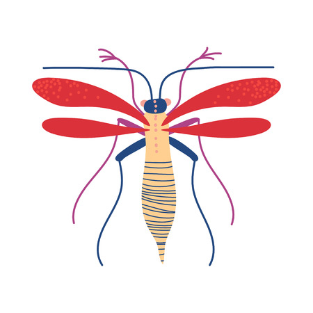 Cute Colorful Flying Insect, Mosquito Vector Illustration on White Background. Illustration