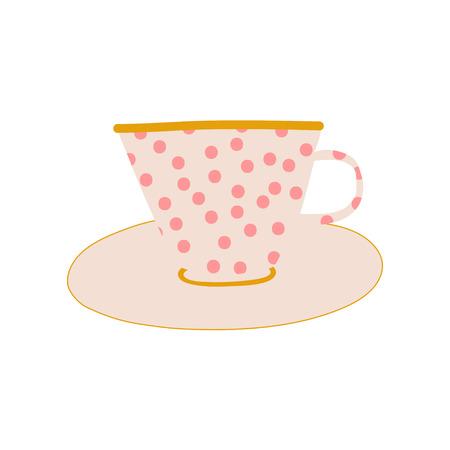 White Polka Dot Ceramic Cup and Saucer, Cute Ceramic Crockery Vector Illustration on White Background. Çizim