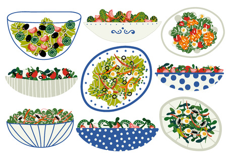 Various Salads Set, Appetizing Healthy Dishes with Fresh Vegetables, Mushrooms, Eggs, Salad Leaves Vector Illustration on White Background.