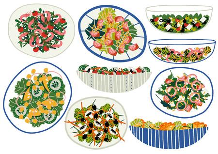 Various Salads Set, Appetizing Healthy Dishes with Fresh Vegetables, Mushrooms, Shrimps, Olives, Salad Leaves Vector Illustration on White Background. Illustration