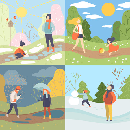 Four Seasons Set, Winter, Spring, Summer and Autumn, People Enjoying Different Weather in Nature Vector Illustration on White Background. Illustration