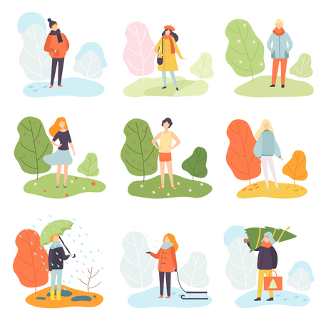 Different Seasons Set, Winter, Spring, Summer and Autumn, People in Seasonal Clothes in Nature Vector Illustration on White Background. 矢量图像