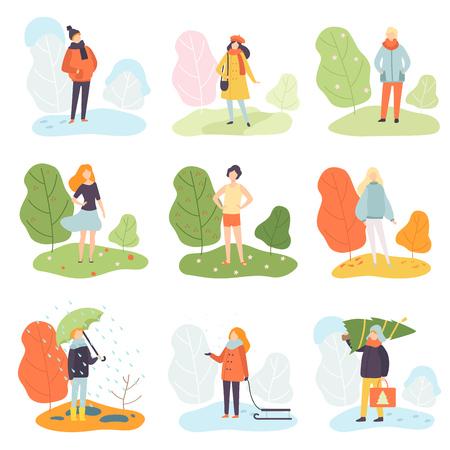 Set di stagioni diverse, inverno, primavera, estate e autunno, persone in abiti stagionali in illustrazione vettoriale di natura su sfondo bianco. Vettoriali