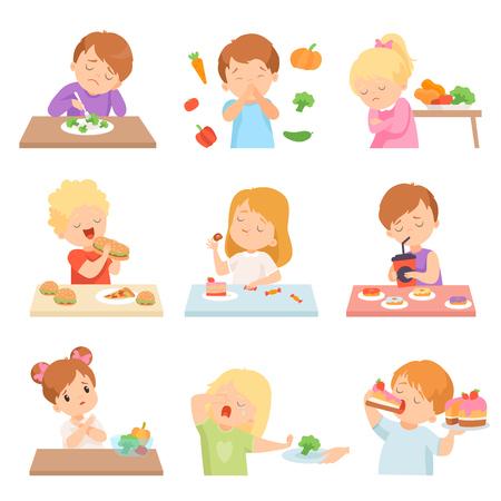 Les enfants n'aiment pas l'ensemble de légumes, les enfants apprécient de manger de la restauration rapide et des bonbons Vector Illustration Vecteurs