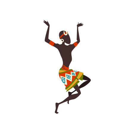 African Man Dancing Folk or Ritual Dance, Male Aboriginal Dancer in Bright Traditional Ethnic Clothing Vector Illustration on White Background.