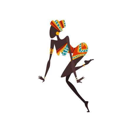 African Woman Dancing, Female Aboriginal Dancer in Bright Traditional Ethnic Clothing Vector Illustration on White Background. Foto de archivo - 124611741