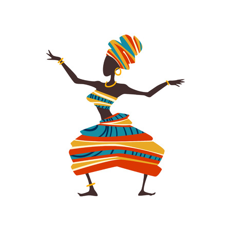 African Woman Dancing, Female Aboriginal Dancer in Bright Traditional Ethnic Clothing and Turban Vector Illustration on White Background.