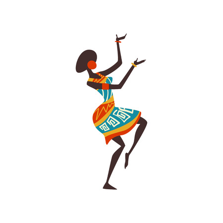 Beautiful African Woman Dancing, Female Aboriginal Dancer in Bright Ornamented Ethnic Clothing Vector Illustration on White Background.