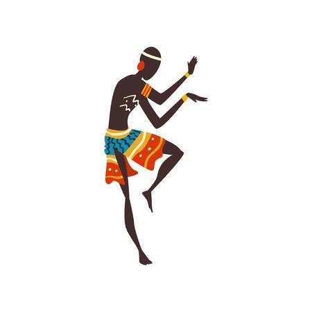 Junger afrikanischer Mann tanzen, Aborigine-Tänzerin in hellen verzierten ethnischen Kleidungs-Vektor-Illustration auf weißem Hintergrund. Vektorgrafik