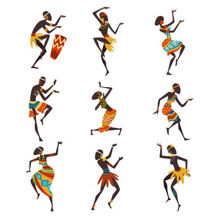Popolo africano che balla folk o set di danza rituale, ballerini aborigeni in brillante abbigliamento etnico tradizionale illustrazione vettoriale su sfondo bianco.