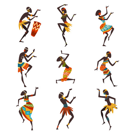 African People Dancing Folk or Ritual Dance Set, Aboriginal Dancers in Bright Traditional Ethnic Clothing Vector Illustration on White Background.