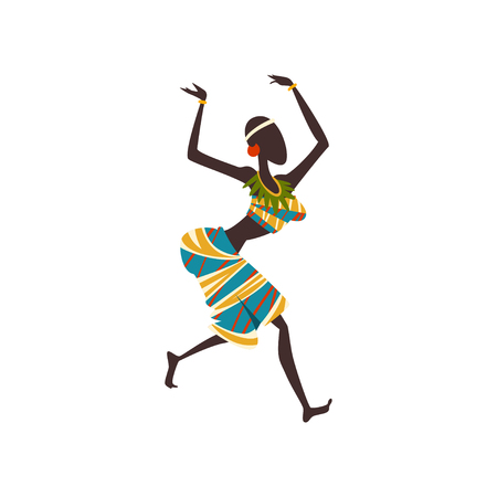 African Girl Dancing Folk or Ritual Dance, Woman Aboriginal Dancer in Traditional Ethnic Clothing Vector Illustration on White Background. Illustration