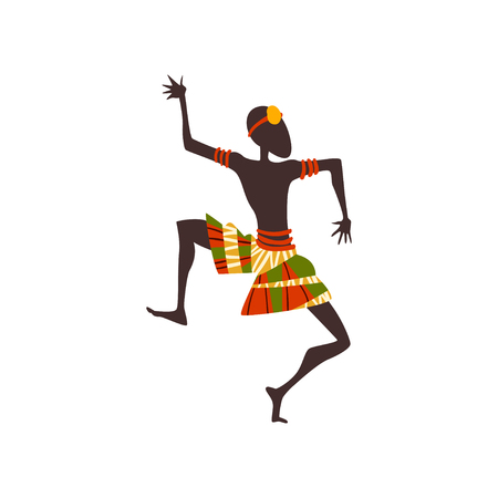 African Man Dancing Folk or Ritual Dance, Aboriginal Dancer in Bright Traditional Ethnic Clothing Vector Illustration on White Background. Foto de archivo - 124611747