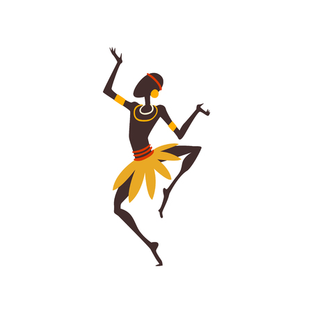 African Man Dancing, Male Aboriginal Dancer in Traditional Ethnic Clothing Vector Illustration on White Background.