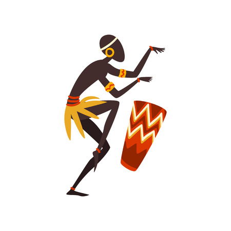 African Man Dancing and Playing Drum, Aboriginal Dancer in Bright Ornamented Ethnic Clothing Vector Illustration on White Background.