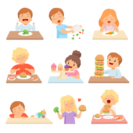 A los niños no les gustan las verduras, niños y niñas lindos que disfrutan comiendo de comida rápida y dulces ilustración vectorial sobre fondo blanco. Ilustración de vector