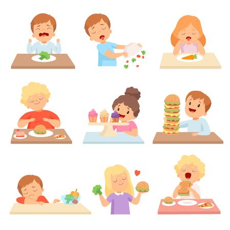 Ai bambini non piacciono le verdure, ragazzi e ragazze carini che si divertono a mangiare fast food e dolci illustrazione vettoriale su sfondo bianco. Vettoriali