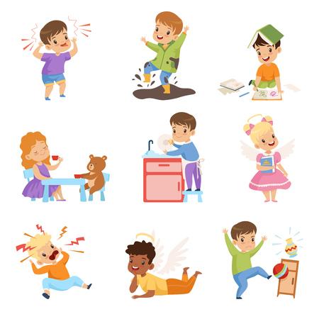 Conjunto de niños traviesos y obedientes, niños con buenos modales y hooligans ilustración vectorial sobre fondo blanco.
