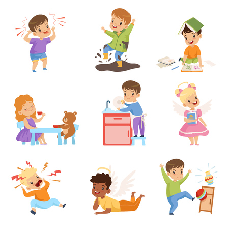 Naughty and Obedient Kids Set, Children with Good Manners and Hooligans Vector Illustration on White Background. Stok Fotoğraf - 124611751