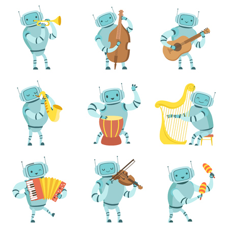 Robots Musicians Playing Musical Instruments Set, Robot Playing Cello, Guitar, Saxophone, Drum, Harp, Accordion, Violin, Maracas Vector Illustration