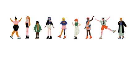 Young Beautiful Women of Different Appearances Set, Female Characters, Self Acceptance, Beauty Diversity, Body Positive Vector Illustration on White Background.  イラスト・ベクター素材