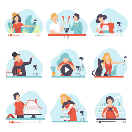 Blogging and Vlogging Set, People Demonstrating their Skills Through Internet, Bloggers Talking about Poetry, Cookery, Needlework, Construction, Travel Vector Illustration on White Background.