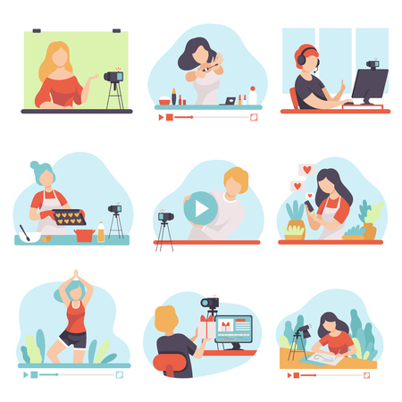 Blogging and Vlogging Set, People Bloggers Demonstrating their Skills Through Internet Vector Illustration on White Background. Vectores
