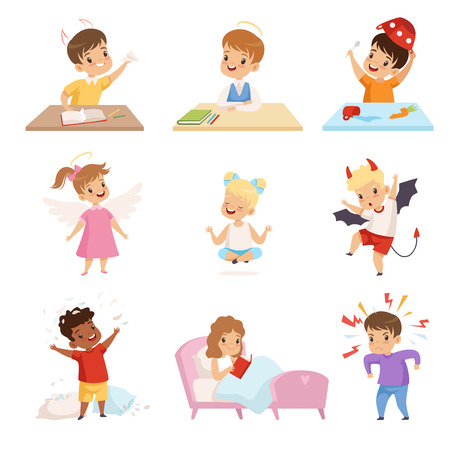 Conjunto de niños traviesos y obedientes, lindos niños pequeños bien educados y hooligans ilustración vectorial sobre fondo blanco.