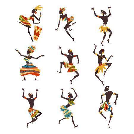 Afrikanische Leute tanzen Volks- oder Ritualtanz-Set, weibliche und männliche Aborigine-Tänzer in hellen verzierten ethnischen Kleidung-Vektor-Illustration auf weißem Hintergrund. Vektorgrafik