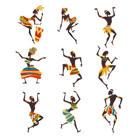 African People Dancing Folk or Ritual Dance Set, Female and Male Aboriginal Dancers in Bright Ornamented Ethnic Clothing Vector Illustration on White Background.