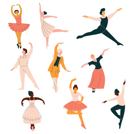 Collection of Ballet Dancers, Men and Women Dancing Classical Dance Vector Illustration on White Background.