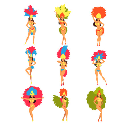 Collection of Beautiful Girls Wearing Bright Festival Costumes Dancing, Brazilian Carnival Samba Dancers, Rio de Janeiro Festival Vector Illustration on White Background.