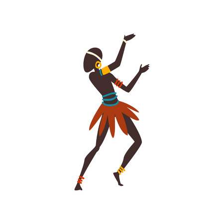 African Man Dancing Folk or Ritual Dance, Male Aboriginal Dancer in Bright Ornamented Ethnic Clothing Vector Illustration on White Background.
