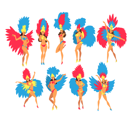 Beautiful Young Woman in Colorful Festival Costumes Dancing Set, Brazilian Samba Dancers, Rio de Janeiro Carnival Vector Illustration on White Background.