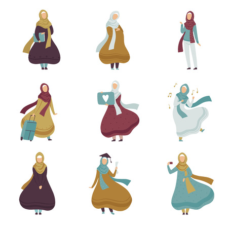 Muslim Women in Different Situations Set, Arab Women in Traditional Clothing Vector Illustration Illustration