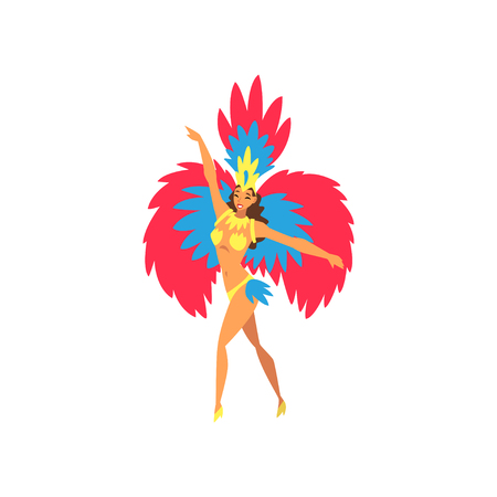 Young Woman in Bright Festival Costume Dancing Samba, Brazilian Carnival Dancer, Rio de Janeiro Festival Vector Illustration on White Background. Illustration