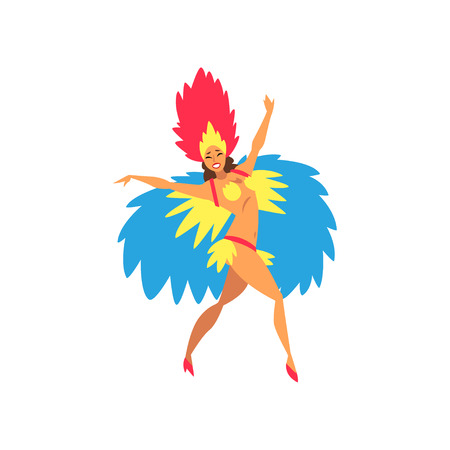 Beautiful Young Woman in Colorful Bright Festival Costume Dancing Samba, Brazilian Carnival Dancer, Rio de Janeiro Festival Vector Illustration on White Background. Illustration
