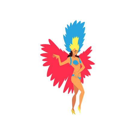 Beautiful Young Woman in Bright Festival Costume Dancing Samba, Brazilian Carnival Dancer, Rio de Janeiro Festival Vector Illustration on White Background. Illustration