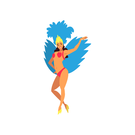 Smiling Young Woman in Colorful Festival Costume, Female Brazilian Samba Dancer, Rio de Janeiro Carnival Vector Illustration on White Background. Illustration
