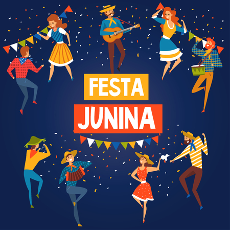 Festa Junina Brazil June Festival Banner or Poster, Happy People Dancing at Night Folklore Party Vector Illustration in Flat Style