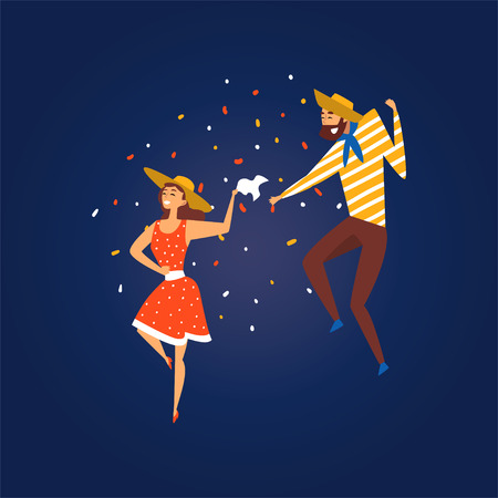 Festa Junina, Traditional Brazil June Festival, Happy Couple Dancing at Folklore Party Wearing Cowboy Hats Vector Illustration in Flat Style Ilustração