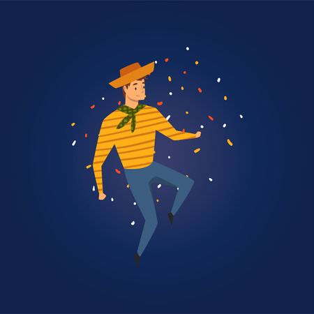 Festa Junina, Traditional Brazil June Festival, Young Man in Cowboy Hat Dancing at Folklore Party Vector Illustration in Flat Style
