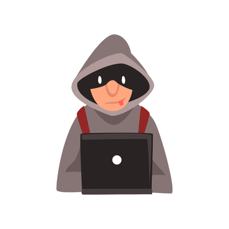Hacker in Hoodie and Black Mask Stealing Information From Laptop, Internet Crime, Computer Security Technology Cartoon Vector Illustration Illustration
