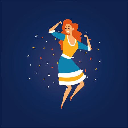 Festa Junina Brazil June Festival, Smiling Girl Dancing at Night Folklore Party Vector Illustration in Flat Style Ilustração