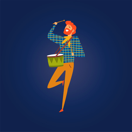Festa Junina Brazil June Festival, Smiling Girl Dancing and Playing Drum at Night Folklore Party Vector Illustration in Flat Style