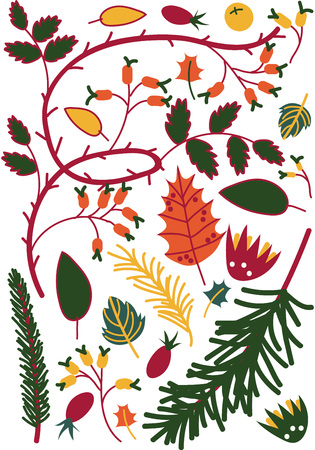 Colorful Leaves and Berries, Sprigs of Briar and Coniferous Trees, Autumn Floral Seamless Pattern, Seasonal Decor Vector Illustration on White Background. Illustration