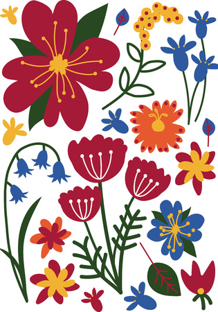 Colorful Wild or Garden Blooming Flowers, Floral Seamless Pattern, Seasonal Decor Vector Illustration
