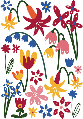 Beautiful Colorful Wild or Garden Flowers, Floral Seamless Pattern, Seasonal Decor Vector Illustration on White Background. 일러스트