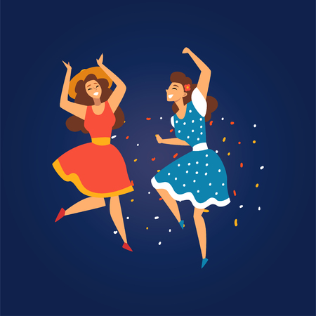 Festa Junina, Traditional Brazil June Festival, Smiling Girls Dancing at Night Folklore Party Vector Illustration in Flat Style